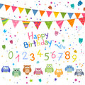 Decorative birthday elements illustration of Royalty Free Stock Image