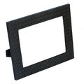 Decorative black leather photo frame isolated on white backgroun background closeup Stock Photo