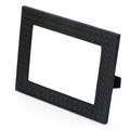 Decorative black leather photo frame on white backgroun background closeup Stock Image