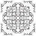 Decorative black and white mandala tile isolated on white