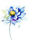 Decorative blue flower watercolor illustration Royalty Free Stock Image