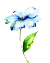 Decorative blue flower watercolor illustration Stock Photography