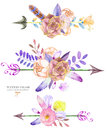 A decorative bouquets with the watercolor floral elements: succulents, flowers, leaves, feathers, arrows and branches