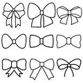 Decorative bows vector icon set. bow illustration sign collection. ribbon symbol. accessory logo. Royalty Free Stock Photo