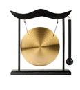 Decorative bronze gong isolated on white background Stock Image