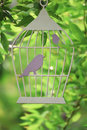 Decorative  cage  silhouette with birds cut from cardboard among the branches Royalty Free Stock Photo