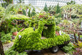 Decorative car made of plants in flower dome gardens by the bay singapore Stock Image