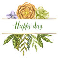 Decorative card with colorful detailed green leaves, plants and flowers . Happy Day lettering. Isolated on white background. Vecto