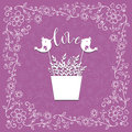 Decorative card with floral frame, love message vector Royalty Free Stock Photo