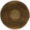 Decorative carved table top isolated Stock Photo