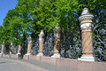 Decorative cast iron fence of mikhailovsky garden in st petersburg russia Royalty Free Stock Photography