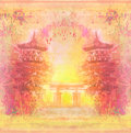 Decorative chinese landscape card illustration Royalty Free Stock Photo