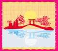Decorative chinese landscape card illustration Royalty Free Stock Images