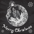 Decorative christmas ball with a candle and a wreath of mistletoe vector on the chalkboard vector illustration for Stock Image