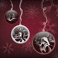 Decorative christmas balls on snow background vector illustration Royalty Free Stock Photo