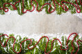 Decorative Christmas fir, festive ornaments background