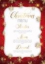 Christmas menu design with golden snowflakes Royalty Free Stock Photo