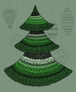 Decorative christmas tree hand drawn and new year with baubles background Royalty Free Stock Images
