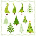 Decorative Christmas trees in different styles