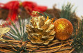 Decorative Christmas wreath with pine cones toys ornaments pine Royalty Free Stock Photo
