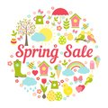 Decorative circular spring sale sign with a busy vector design depicting symbolic springtime favourites easter and the weather in Stock Photos