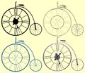 Decorative A Clock Penny-Farthing Bicycle Vector Royalty Free Stock Photo