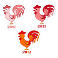 Decorative colorful roosters hand drawn vector cartoon doodle illustration, animal set isolated on white, symbol of 2017