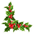 Decorative corner with Christmas holly. Royalty Free Stock Photo