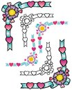 Decorative corner elements with flowers ribbons and hearts Stock Image