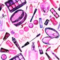 Decorative cosmetics, make up stuff collection, hand painted watercolor, pink, purple color palette