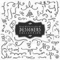 Decorative curls and swirls designers collection hand drawn illustration design elements Royalty Free Stock Image