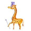Decorative cute watercolor giraffe with cylinder, tie, cane, glasses cartoon kids illustration isolated on white