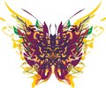 Abstract bright butterfly wings colorful floral and feathers splashes Royalty Free Stock Photo