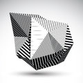Decorative distorted eps8 element with parallel black lines. Mul Royalty Free Stock Photo
