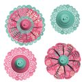 Decorative doily floral button embellishments Stock Images