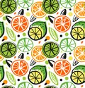 Decorative drawing seamless pattern with citrus fruits. Colorful tropical background.