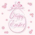 Decorative easter egg flowers pink background illustration Stock Images