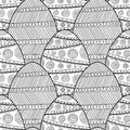 Decorative Easter eggs. Black and white seamless pattern coloring book.