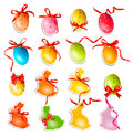 Decorative easter eggs easter cards with bows and ribbons vector Royalty Free Stock Photography