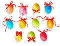 Decorative easter eggs. Easter cards with red bow Royalty Free Stock Photo