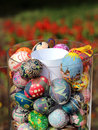 Decorative Easter eggs in a glass vase Royalty Free Stock Photography