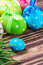 Decorative eggs for easte easter is on the table focus on a small blue egg Stock Images