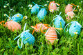 Decorative eggs in the grass Royalty Free Stock Image