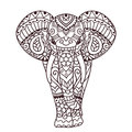 Decorative elephant illustration indian theme with ornaments vector isolated Stock Photos