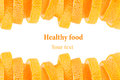 Decorative ending from a pile of slices of juicy orange on a white background. Fruit border, frame. Isolated. Food background. Cop