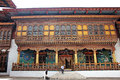 Decorative entrace to a temple inside a castel beautifully crafted wooden and of castle of punakha bhutan windows and doors have Stock Images