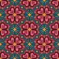 Decorative ethnic abstract love heart flowers pattern vector seamless Royalty Free Stock Photo