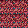 Decorative ethnic love heart pattern vector seamless Royalty Free Stock Images