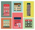 Decorative flat image of colored houses and buildings for postcards and posters