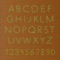 Decorative floral alphabet. Scribble floral wood alphabet. Curly ornamental spring scribble font.